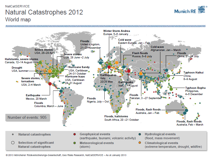 Natural Catastrophes World Map 2012
