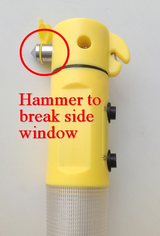Hammer to break the side window