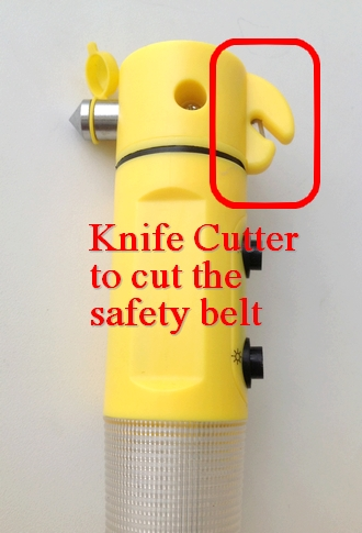 Cutter to cut the jammed safety belt
