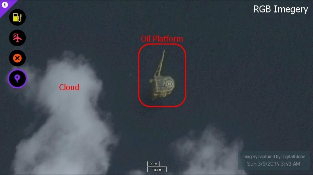 Oil rigs can be seen clearly in the image. There is a Heliport as well.