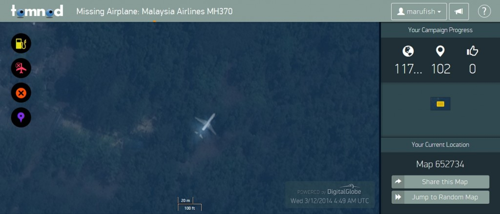 Airplane found in Tomnod satellite imagery