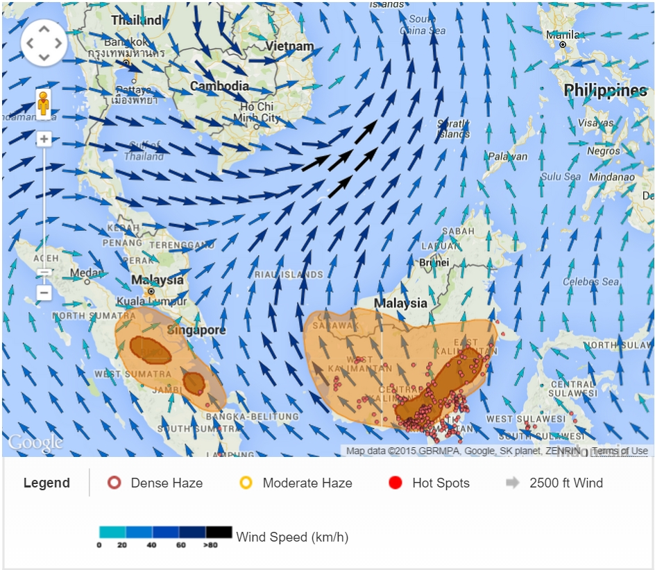 ASEAN fire hotspot, haze and wind pattern on 15 Sep 2015