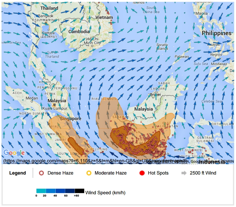 ASMC Hotspot and Haze Mapon 22 September 2015.