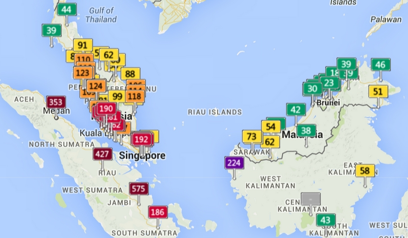 Regional Air Quality Index Malaysia, Singapore and Indonesia