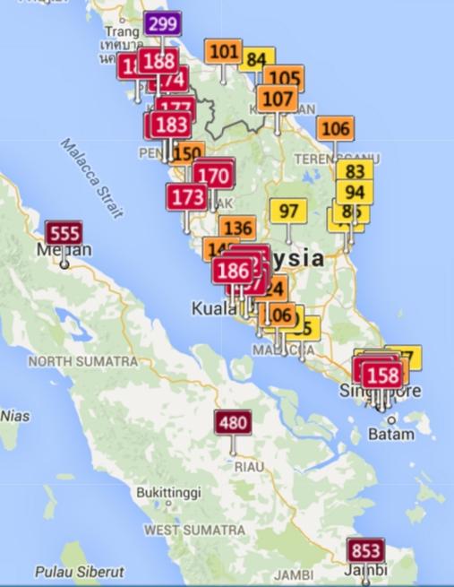 AQICN data of Sumatra, Peninsular Malaysia and Thailand on 21Oct 2015 10pm