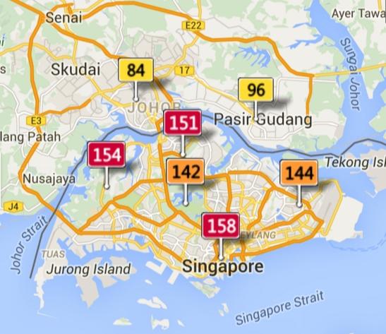 Johor Bharu and Singapore AQI