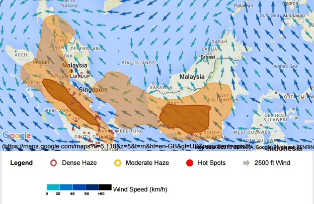 ASMC haze and fire hotspot data on 23 October 2015